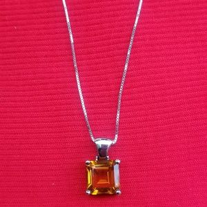 Beautiful 925 Italy Silver Amber Necklace